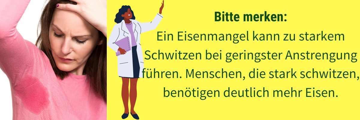 Eisenmangel Symptom Schwitzen
